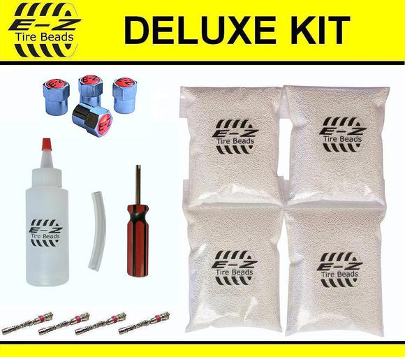 E-Z Tire Balance Beads Deluxe Kit 12 oz Four-Pack (4 bags of 12 oz Balancing Beads) 48 Ounces Total, Applicator Kit, Filtered Valve Cores, Chrome Caps, No Lead, No Damage, DIY Tire Balance