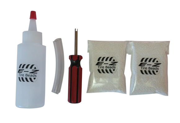 E-Z Tire Beads Motorcycle Kit, Ceramic Balancing 1 oz Front + 2 oz Rear + Applicator Kit, No Lead, No Damage, DIY Tire Balance