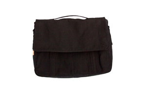 Black Waxed Canvas Messenger Bag