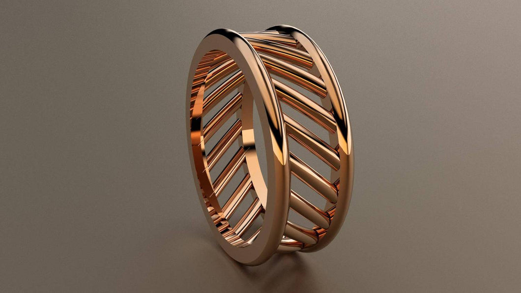 Polished Rose Gold 8mm Open Bar Band Ring