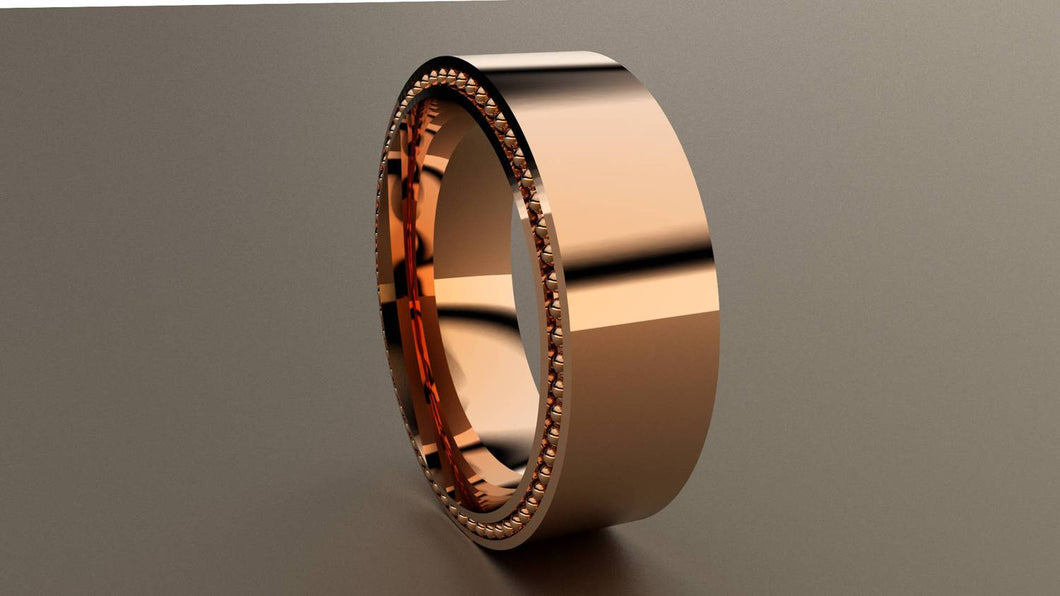 Polished Rose Gold 8mm Band Ring with Recessed Beading