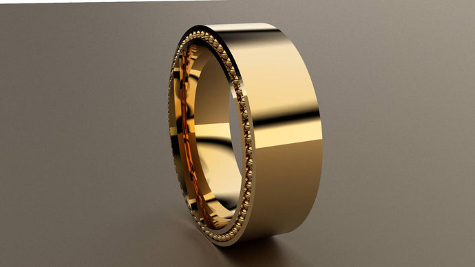Polished Yellow Gold 8mm Band Ring with Recessed Beading