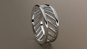 Polished White Gold 8mm Open Bar Band Ring