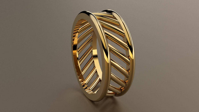 Polished Yellow Gold 8mm Open Bar Band Ring