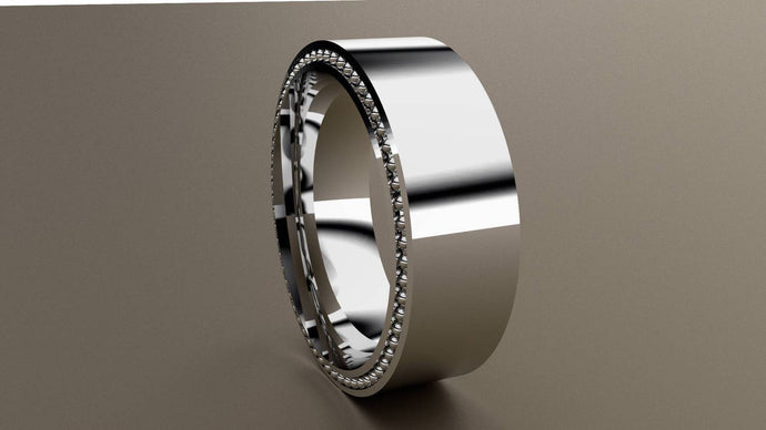 Polished White Gold 8mm Band Ring with Recessed Beading