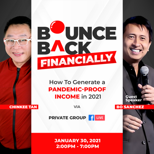 Bounce Back 2021: How to Create and Grow your Money with Chinkee Tan and guest speaker, Bo Sanchez