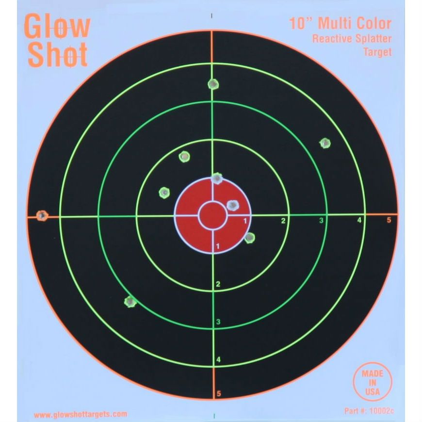 GlowShot 10″ Heavy Card Reactive Splatter Shooting Targets, Multi Colour