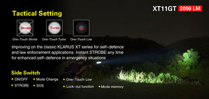 Klarus XT11GT 2000 Lumens torch with battery, USB magnetic charger cable, semi spot