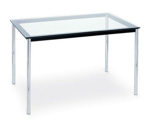 "Le Corbusier LC10 Rectangular 71"" Glass Top Dining Table - Bauhaus 2 Your House"