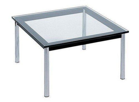 "Le Corbusier LC10 Square 27"" Glass Top Coffee Table - Bauhaus 2 Your House"
