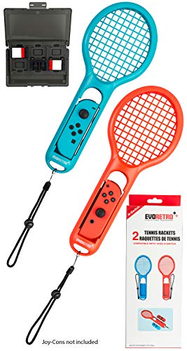 Tennis Racket Twin Pack Compatible with Nintendo Switch Joy-Con Controllers for Mario Tennis Aces (Red and Blue) with 12 Slot Game Card Case