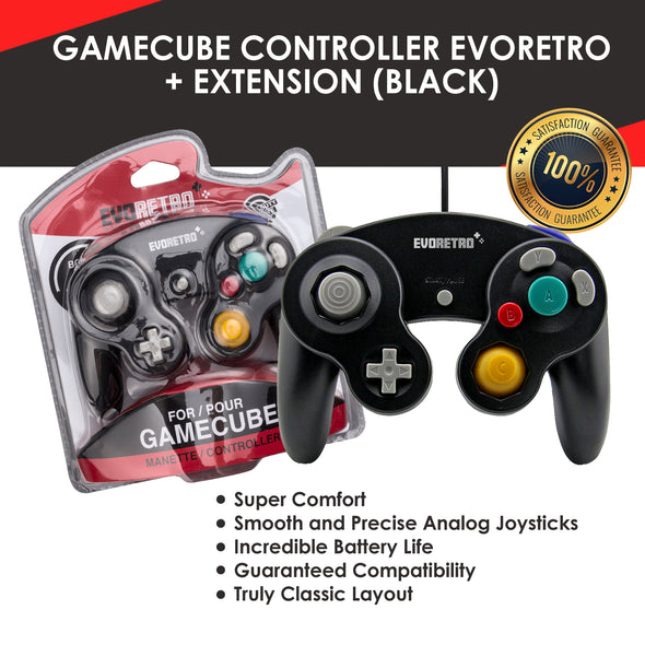 Gamecube Controller and 6 feet Extension Cable Set – Compatible with Nintendo Switch, Wii U & PC Best for Smash Bros by EVORETRO