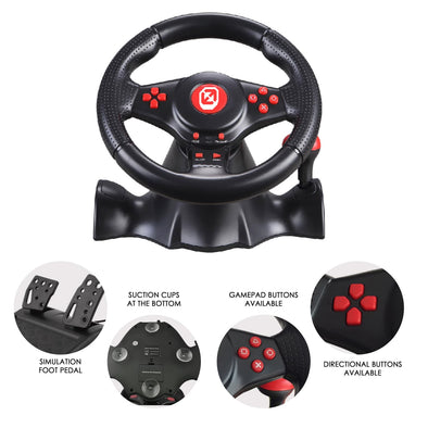 EVORETRO GT-XP2 V.2 GAMING STEERING WHEEL - Best for Nintendo Switch, PS3 and PS4 Racing Games