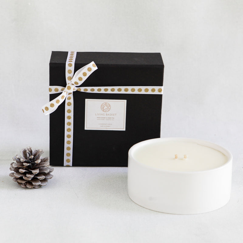 WHITE CERAMIC BOWL CANDLE