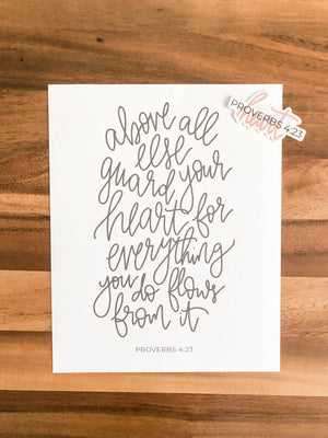 Proverbs 4:23 Set | Sticker and Art Print