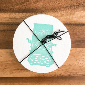 Teal Typewriter | Round Letterpress Coasters (6)