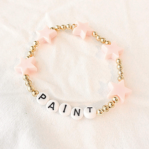 The Luna | Gold Bead and Pink Star Bracelet