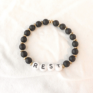 The Reyes | Black Bead and Gold Accent Bracelet