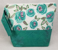 Teal Flowers - Project Bag - Small - Crafting My Chaos