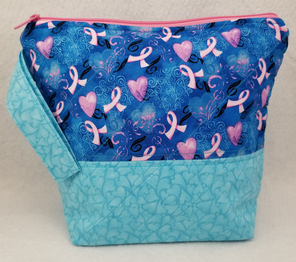 Breast Cancer Ribbon - Project Bag - Small - Crafting My Chaos