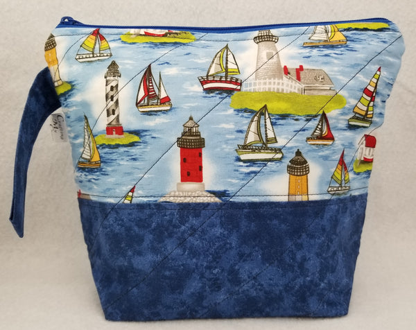 Lighthouses & Sail Boats - Project Bag - Small - Crafting My Chaos