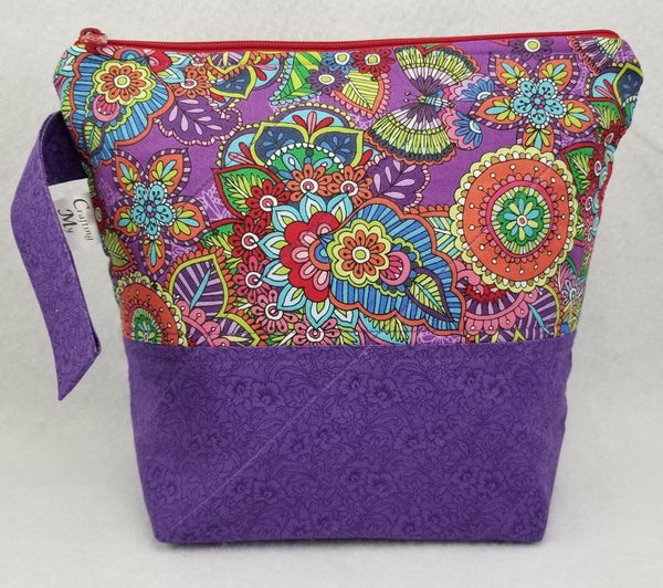 Purple Flowers - Project Bag - Small - Crafting My Chaos