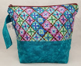 Teal Blue with Flowers - Project Bag - Small - Crafting My Chaos