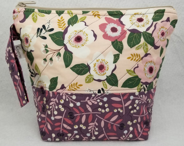 Mauve Flowers - Project Bag - Small - Crafting My Chaos