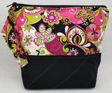 Black with Pink Fantasy Flowers - Project Bag - Small - Crafting My Chaos