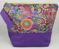 Purple Flowers - Project Bag - Medium - Crafting My Chaos