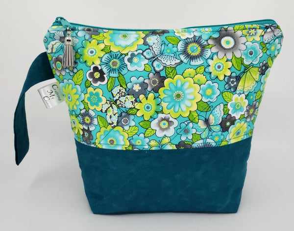 Tealish flowers - Project Bag - Small