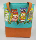 Owls - Quilted Bucket Bag - Large