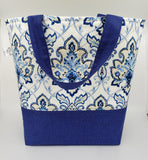 Blue Fancy - Quilted Bucket Bag - Large