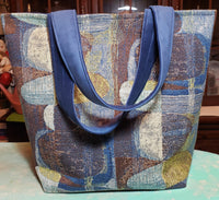 Blue Abstract - Bucket Bag - Large