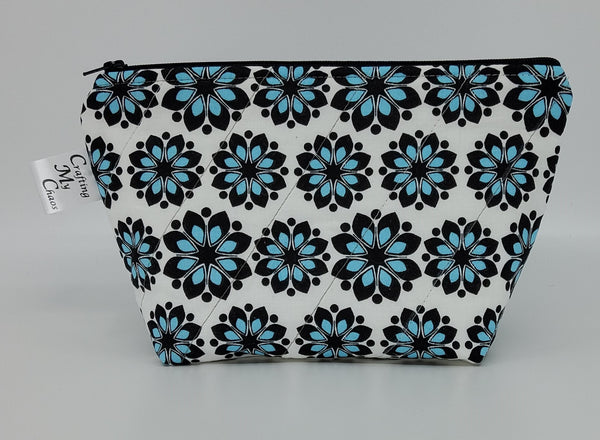 Black and Blue Flowers - Notions Bag