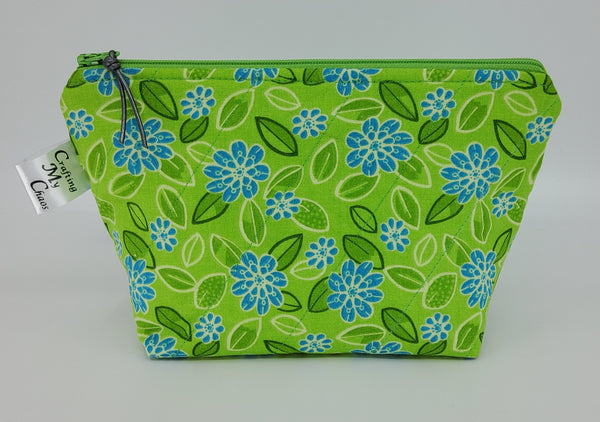 Green and Blue Flowers - Notions Bag