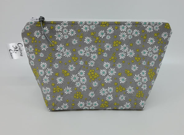 Grey Flowers - Notions Bag