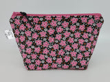 Pink and Black Flowers - Notions Bag