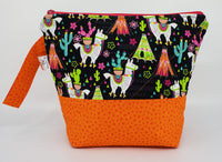 Llamas - Orange - Project Bag - Small