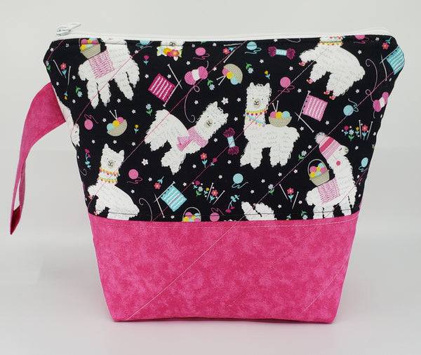 Alpacas in Pink - Project Bag - Small