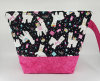 Alpacas in Pink - Project Bag - Medium