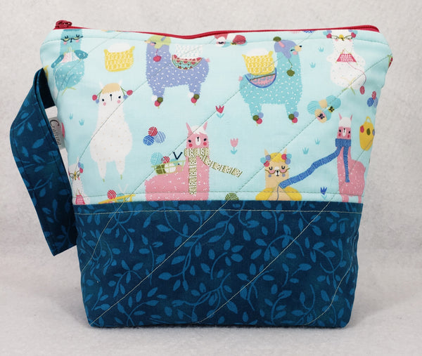 Alpacas Knitting Blue - Project Bag - Small