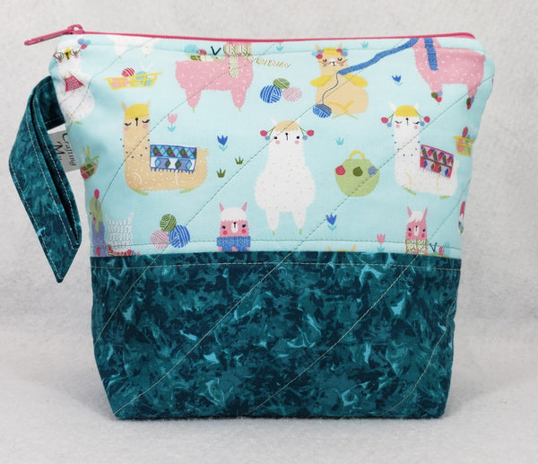 Alpacas Knitting Teal - Project Bag - Small