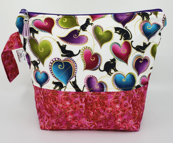 Black Cats in Pink - Project Bag - Small