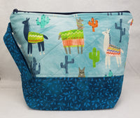 Blue Llamas - Project Bag - Medium - Crafting My Chaos