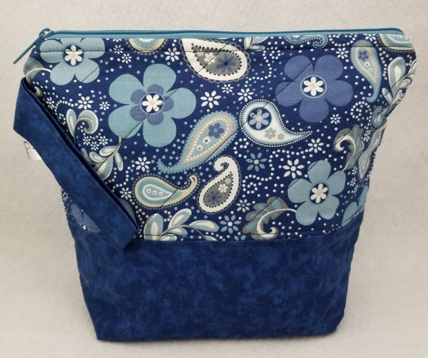 Blue Paisley - Project Bag - Small - Crafting My Chaos