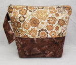 Brown Floral - Project Bag - Small - Crafting My Chaos