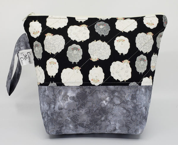 Fluffy Sheep - Grey - Project Bag - Small