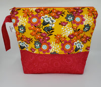 Hot Pink and Orange Flowers -  Project Bag - Medium