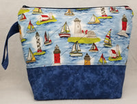 Lighthouses & Sail Boats - Project Bag - Medium - Crafting My Chaos